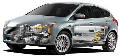 Elöl a 136 lóerős elektromotor, hátul vannak a lítium-ion akkumulátorok