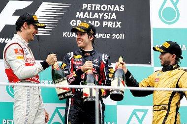 Ugyanaz a három csapat, mint Ausztráliában, de Vettel mellé ezúttal Button és Heidfeld állhatott fel a dobogóra