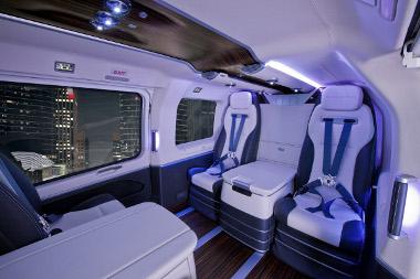 Kikapcsolható a kék hangulatvilágítás a Mercedes belsővel szerelt Eurocopter esetén