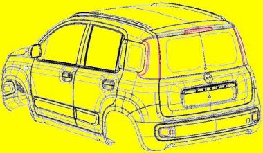 A vonalas ábrák segítségével már elképzelhetjük a következő Fiat Pandát