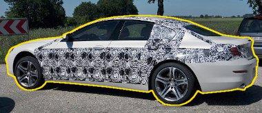 Jól látszik a minimális álcán keresztóül a háts ajtó a BMW 6 GranCoupe-n