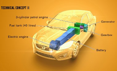 Generátort és kerekeket egyszerre hajt a turbós belső égésű motor - a C30 esetén utóbbi hátul van