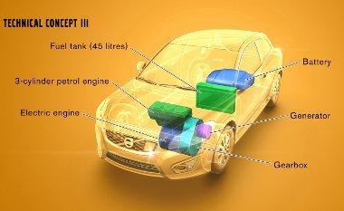 A V60 motorterében egymás mellett elfér az elektro- és a belső égésű motor, amit E85-tel is lehet üzemeltetni. Az ábrán a C30-asba rajzolták bele a rendszert
