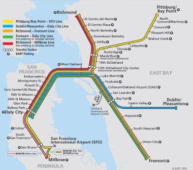 San Francisco térségében működik a BART vasút, 2017-től BMW által tervezett vonatokkal