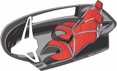 Egymás mellett-mögött helyezkedik el a sofőr és utasa, a karbon utascella része az ülőlap, nem állítható