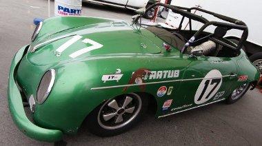 Régi küzdelmek nyomait viseli magán ez a Porsche 356 Speedster versenyautó