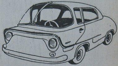 """Egy régi-régi rajz, amely mint a """"Bjelka"""" prototípus az ötvenes években kelt életre, Dolmatovszkij kisautó-tervei közül"""