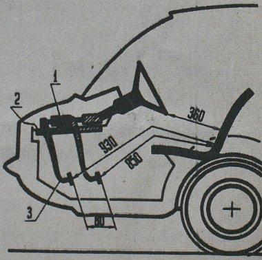 A taxi-modell sok újdonságot foglal magában. Ilyen például a rögzített ülés rövid oszlopú hidraulikus működésű biztonsági kormánnyal (1) és az állítható (2-3) pedálokkal. A rajzon feltüntetett, milliméterben megadott méretek is utalnak a praktikusságra