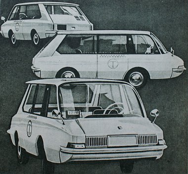 """Három rajz a Dolmatovszkij-koncepciót jelentő formáról, amely az egyes részleteit tekintve is a jövő vetíti elénk. Kétségtelen, hogy nemcsak mint """"taxi-kivitel"""" célszerű, hanem családi kocsiként is számos előnyt ígér"""