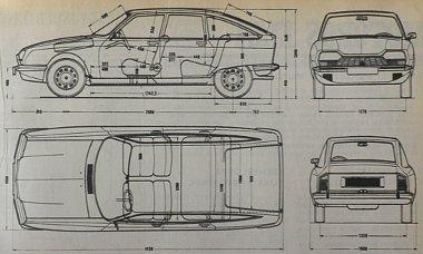 Ide sem kell sok magyarázat. A méretek mindent feltárnak a 145X15-ös Michelin ZX gumival szerelt fronthajtású kocsiról, amelynek pótkereke is elfér az első tengely előtti jól kiegyensúlyozott  boxermotor közelében, a sebességváltó fölött