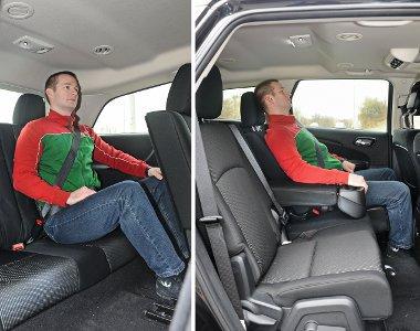 Hátul a felnőttek felhúzott lábakkal kénytelenek kuporogni, a fejtér is szűkös. A középső ülés igény szerint tologatható és dönthető