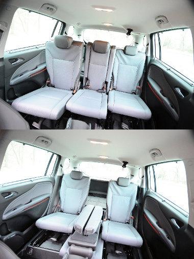 Könnyedén és rugalmasan variálható a középső üléssor. Lehet két- vagy háromszemélyes is, előbbi esetben 5 centivel beljebb is csúsznak az ülések