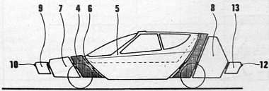 A biztonsági autó hosszmetszeti képe. A számok a következő szerkezeti részeket jelzik: 4 – ütközőelem; 5 – utasfülke; 6 – rugalmas betét; 7/8 – alvázhoz rögzített ütközőelemek; 9/13 – hidraulikus rögzítők; 10/12 – gumi