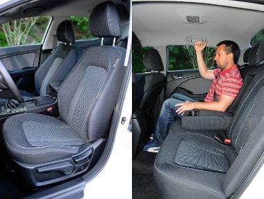 Feszes párnázású, jól formázott és kényelmes ülések. Hosszában tágas az utastér, de hátul nincs szellőzőrostély és szerény a fejtér