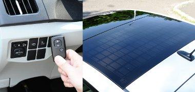 Az elektromos légkondi távirányítóval is bekapcsolható. Az utastér klimatizálásához ilyenkor a tetőbe integrált napelem termeli az energiát