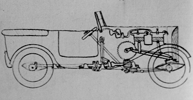 Egy gyermekkori vázlat Pentelényi János rajzfüzetéből. Ilyennek képzelte 14 éves fejjel az automobil szerkezetét
