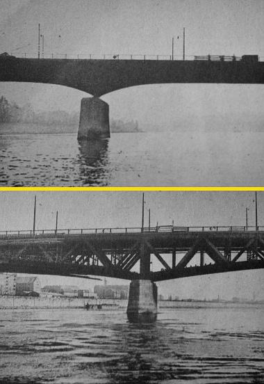 A két helyszín: az Árpád-híd és a Petőfi-híd, a kitört korlátok ideiglenes pótlása után