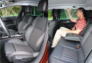 Az állítható combtámaszok sokat javítanak az első ülések kényelmén. A második sorban tisztességes méretű a hely
