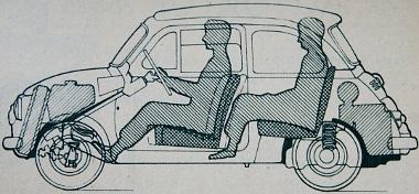Hogy mi hová kerül ebben a kocsiszekrényben és hogyan ülnek az utasok, a vázlatrajz méretarányosan szemlélteti