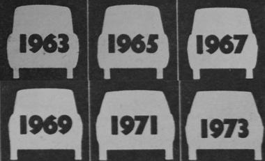 Egy évtized alatt is sokat változtak a személyautók méretei, formái. A keskeny nyomtáv 1963 és 1973 között valamennyi új modellnél jó néhány centivel szélesedett, és az alacsonyabb, több sík felületet, kevesebb domborított elemet, de íveltebb üvegeket mut