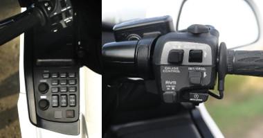 Balra az audiorendszer vezérlője, jobbra pedig a tempomat és a hátramenet kapcsolója