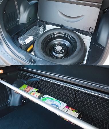 Helyes: a padló alatt szükség pótkerék és 30 l-es rekesz rejtőzik. Praktikus: a raktérroló alatt tárolóháló feszíthető ki