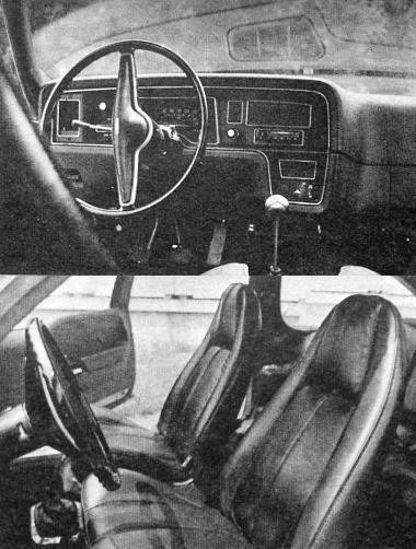 A műszerfalat, a kapcsolókat, éppúgy, mint a fejtámlás üléseket a célszerűség, a biztonság jegyében formázták. Itt említjük meg, hogy elöl-hátul gyárilag beépített automatikus övek vannak a kocsiban. Az autó fordulási körátmérője 11,8 méter, benzintankja