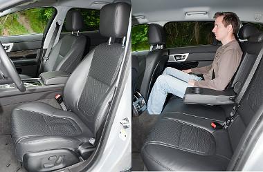 A helykínálat a kategória átlagát hozza, ám az ülések formázása miatt a Jaguar az egyik legkényelmesebb modell