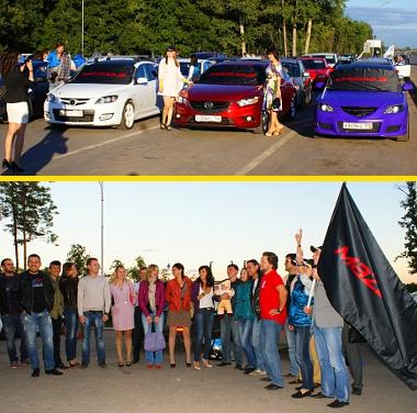Az ufai Mazda-klub tagjai felsorakozva vártak, és még énekeltek is nekünk egy keveset. Megtisztelve éreztük magunkat meg egy kicsit fáradtnak