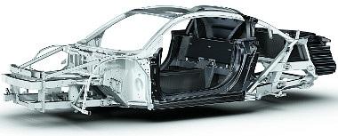 Multimaterial Space Frame: a váz alumíniumból és szénszálas-erősítésű műanyagból (CFK) készül