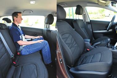 190 centis magasságig hátul is jól el lehet férni az autóban. Feszes tömésű ülések a Ceed Kombi fedélzetén