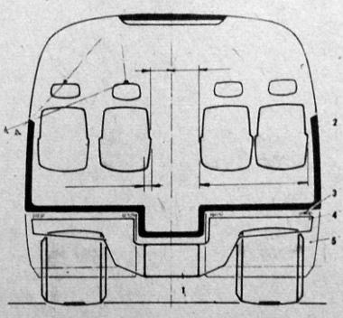 1. alváz – 2. karosszéria – 3. az alváz és a karosszéria közötti gumielemek – 4. alvázkereszttartó – 5. csomagláda