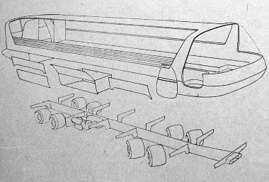 A funkcionális főrészekre bontott autóbusz rajza. A szendvics szerkezetű felépítmény fényezett, teljesen kész állapotban kerülne az üzemképes alvázra. A karosszéria elején lévő ajtó kizárólag a jármű vezetőjének ki- és beszállására szolgál