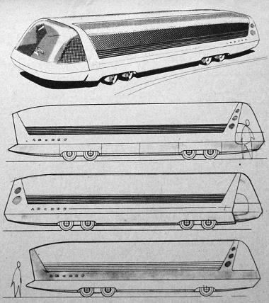 A központi csőalvázra épített különböző homlok-, illetve hátfal megoldású felépítmények. A kocsitest körvonalának megrajzolásánál az esztétikai szempontokon kívül dominál az aerodinamika, amit a jövő nagysebességű autóbusza határozottan megkövetel
