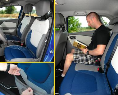 A magasságában állítható vezetőülés széria, az ülésfűtés feláras. Levehető és mosható az üléshuzat, alaphelyzetben meglepően tágas a második sor