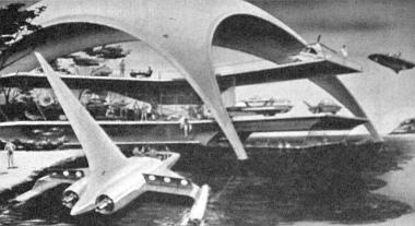 """Elképzelés egy üdülőhelyről a 2000-ik esztendőben. Az előtérben egy vízen és szárazföldön egyaránt közlekedő """"aquacar"""", a levegőből pedig """"autocopter"""" hozza utasait"""