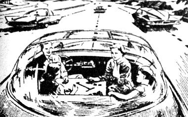 A jövő autójának vezetője, amikor kocsijával ráhajt az olyan útburkolatra, amely alatt vezérlőhálózat tudja irányítani a járműveket, - mint Ju. Dolmatovszkij rajza mutatja, - nyugodtan hátrafordulhat menet közben is