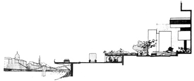 Metszet a Lánchíd és az Erzsébet-híd közötti legszűkebb szakaszról, a Duna Intercontinental Szálló előtt