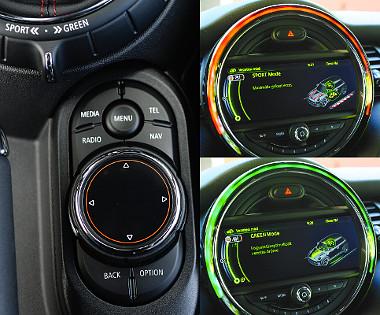 Az opciós, kézírás-felismerő i-Drive előtt az üzemmódkapcsoló. A középálláson kívül takarékosságra optimalizált Green és Sport program választható. Az üzemmód vicces grafikán és a LED-gyűrűn is visszaköszön