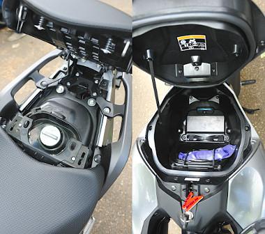 Az utasülés alatt találjuk az üzemanyag-betöltő nyílást. Hatalmas az NC750X bendője, egy sisakot is elnyelhet