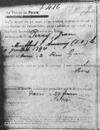 """A párizsi """"Le Préfet de Police"""" bizonyítja, hogy J. Perry 1901. feb. 27-től automobil vezetésére jogosult"""