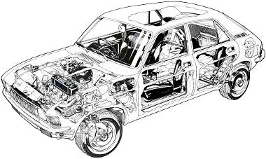 Bármelyik Allegro-változat jellemezhető ezzel a rajzzal, hiszen a motorbeépítés, a gáz- és folyadéktöltésű rugóelemek mindegyiknél azonosak