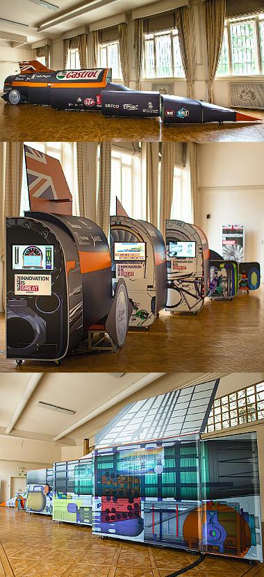 A statikus bemutatón részegységeire bontva állt az életnagyságú rakétaautó. Színes metszetek és folyamatábrák, valamint interaktív fázis-bemutatók. Fotó: bloodhoundssc.com, Stefan Marjoram