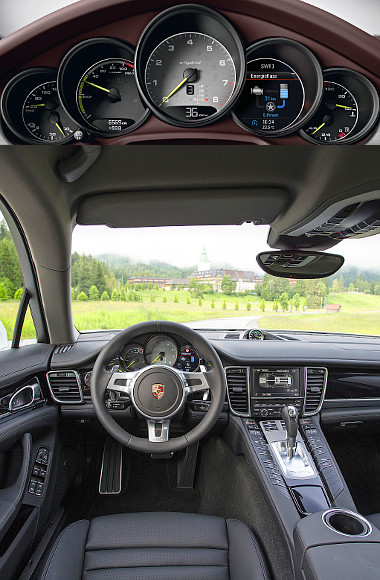 Jellegzetes Porsche cockpit, perfekcionista kidolgozással. Sebességmérő helyett hibrid műszer