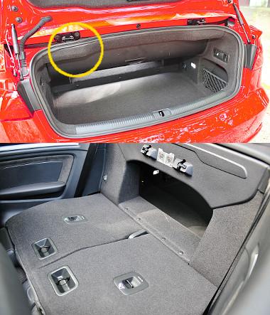 Makula: a csomagtér felső pereménél kibuggyant a kárpit. A 280-320 literes hátsó ülésdöntéssel egészen 680-ig bővíthető