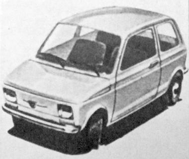 Rajzunk az évenként 150 ezer autó előállítására tervezett Bielsko Bialában készülő új lengyel gyár modelljét. Ez nem más, mint az új licenc-szerződésben szereplő, Fiat-126 néven futó miniautó