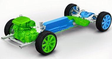 Virtuális összkerékhajtás: a benzinmotor elöl, a villanymotor hátul hajt. Az akkut a középalagútba építették