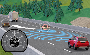 A 80-180 km/óra között aktív i-ACC rendszer a mellettünk lévő sávokat is figyeli