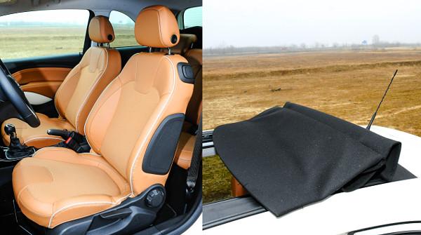 Tág tartományban állíthatók az ülések. 140 km/órás sebességig menet közben is mozgatható a tető
