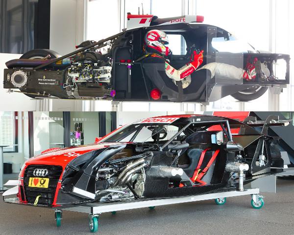 Az Audi az R18-as és a DTM-ben szereplő RS5-ös ruhája alá is betekintést enged. Utóbbinál látványos a különbség a civil RS5-öshöz képest